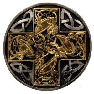 Boucle de ceinture Croix celtique or design