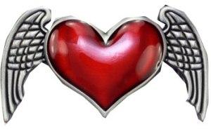 Boucle de ceinture coeur ailes d'ange