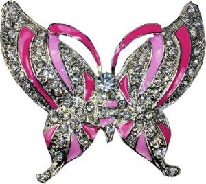 Boucle de ceinture papillon rose