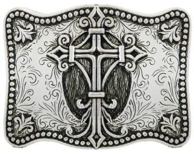 WE356 Boucle de ceinture Stetson cix plaqué argent