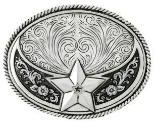WE357 Boucle de ceinture Stetson étoile plaqué argent